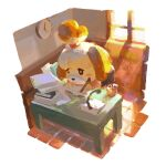 1girl animal_crossing animal_ears black_eyes blush_stickers book chair clock closed_mouth commentary desk dog_girl english_commentary glass highres indoors isabelle_(animal_crossing) james_ghio light_beam looking_down paper pen sitting solo topknot wall_clock window writing