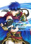 1boy black_gloves black_headband blue_eyes blue_hair cape closed_mouth cowboy_shot fingerless_gloves fire_emblem fire_emblem:_path_of_radiance frown gloves headband holding holding_sword holding_weapon ike_(fire_emblem) looking_at_viewer male_focus pants shiny shiny_hair short_hair solo soyo2106 sword weapon white_pants