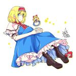 2girls alice_margatroid bangs black_footwear blonde_hair blue_dress blue_eyes boots bow capelet closed_mouth cross-laced_footwear dress eyebrows_visible_through_hair full_body hair_bow hairband hands_together highres knees_up lolita_hairband long_hair looking_at_viewer multiple_girls red_bow red_hairband shanghai_doll short_hair short_sleeves signature simple_background sitting smile star_(symbol) touhou umigarasu_(kitsune1963) white_background white_capelet