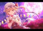 1girl blonde_hair blurry blurry_background blush collar commentary crystal eyebrows_visible_through_hair flandre_scarlet flower frilled_collar frilled_sleeves frills hat hat_ribbon holding holding_flower letterboxed liuliu looking_at_viewer mob_cap moon night puffy_short_sleeves puffy_sleeves red_eyes red_flower red_ribbon red_skirt red_vest ribbon shirt short_sleeves side_ponytail skirt smile solo spider_lily tears touhou upper_body vest white_headwear white_shirt wings wrist_cuffs