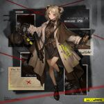 1girl bag bangs belt black_bag black_footwear black_gloves black_shirt blush breasts brown_neckwear bullpup cellphone chain character_name closed_mouth coat commentary_request copyright_name double_bun earrings eyebrows_visible_through_hair eyewear_removed girls_frontline gloves grey_coat gun highres holding holding_bag holding_chain holding_phone holding_weapon jewelry light_brown_hair lm7_(op-center) looking_at_viewer medium_breasts medium_hair necktie official_art open_clothes open_coat p90 p90_(girls_frontline) phone red_eyes shirt smartphone smile solo standing standing_on_one_leg submachine_gun weapon