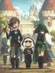 2boys 4girls :i absurdres alcohol animal_ears armor bangs banner belt belt_pouch black_footwear blue_hair blunt_bangs boots bottle braid breastplate brown_hair brown_pants brown_shirt castle cloak day dirt_road earrings flag full_body glasses green_cloak green_eyes green_headwear green_jacket height_difference highres holding jacket jewelry long_hair medium_hair multiple_boys multiple_girls original outdoors pants paper porforever pouch road round_eyewear sheath sheathed shirt skirt smile sword tail tree twin_braids walking weapon white_hair