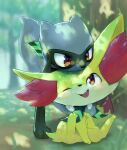 1boy animal_ear_fluff animal_ears bandana black_fur blue_fur blush body_fur child closed_mouth commentary_request dappled_sunlight day fang fennekin forest fox_heart full_body fushigi_no_dungeon gen_4_pokemon gen_6_pokemon grass green_neckwear happy highres jpeg_artifacts leaning_forward light_blush looking_at_another looking_up male_focus nature one_eye_closed open_mouth outdoors pokemon pokemon_(creature) pokemon_(game) pokemon_mystery_dungeon red_eyes riolu sitting smile standing sunlight tail tree two-tone_fur wolf_boy wolf_tail