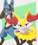 1boy 1girl animal_ear_fluff animal_ears animal_nose black_fur blue_fur border braixen closed_mouth commentary flat_chest fox_ears fox_girl fox_heart fox_tail furry gen_4_pokemon gen_6_pokemon green_background grey_border grin hands_on_hips happy highres jpeg_artifacts leaning_forward legs_apart looking_at_viewer lucario outside_border pokemon pokemon_(creature) red_eyes sideways_mouth simple_background smile spikes standing stick tail teeth uneven_eyes white_fur wolf_boy wolf_ears yellow_fur