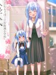 2girls :< :d animal_ear_fluff animal_ears bangs bead_necklace beads black_dress blue_hair blue_skirt blush bow bowtie bunny-shaped_pupils carrot_hair_ornament closed_eyes collared_shirt commentary_request creature crying crying_with_eyes_open don-chan_(usada_pekora) dress dress_shirt facing_viewer feet_out_of_frame flower food_themed_hair_ornament hair_between_eyes hair_ornament highres holding holding_creature holding_hands hololive jacket jewelry long_hair long_sleeves looking_at_viewer magowasabi multiple_girls necklace open_mouth orange_eyes pekomama petals pink_flower rabbit_ears rabbit_girl red_bow red_neckwear shirt short_eyebrows sidelocks signature skirt smile socks standing suspender_skirt suspenders tears thick_eyebrows twintails twitter_username usada_pekora virtual_youtuber white_jacket white_legwear white_shirt younger