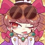 :p bow brown_hair coat dress earrings eyewear_on_head harunori_(hrnrx) hat hat_bow high_collar jewelry necklace one_eye_closed orange_eyes pendant round_eyewear sunglasses tongue tongue_out top_hat touhou white_dress yorigami_jo'on