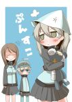 3girls :< =3 anger_vein angry bandages bangs black_ribbon blue_background blue_eyes blue_headwear blue_jacket blue_pants blue_skirt blush_stickers border brown_hair closed_eyes closed_mouth clothes_writing commentary_request cosplay emblem flying_sweatdrops frown fume girls_und_panzer hair_ribbon hat holding holding_stuffed_toy jacket keizoku_military_uniform light_brown_eyes light_brown_hair long_hair long_sleeves looking_at_another looking_at_viewer looking_back mika_(girls_und_panzer) mika_(girls_und_panzer)_(cosplay) military military_uniform miniskirt multiple_girls one_side_up outside_border pants pants_under_skirt partial_commentary pleated_skirt raglan_sleeves ribbon shimada_arisu short_hair silver_hair skirt smile standing stuffed_animal stuffed_toy sweatdrop teddy_bear track_jacket track_pants tulip_hat uniform white_border youko_(girls_und_panzer) zannen_na_hito zipper