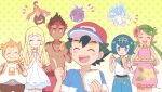 3boys 3girls alolan_form alolan_sandslash artist_name ash_ketchum bangs baseball_cap belt blonde_hair blue_eyes blue_hair blue_pants blush blush_stickers braid brown_pants capri_pants closed_eyes closed_mouth commentary_request dark_skin dark_skinned_male dress eating eyelashes flower food food_on_face gen_1_pokemon gen_6_pokemon gen_7_pokemon gourgeist green_hair hair_flower hair_ornament hairband hand_up hat highres holding holding_tray jewelry kiawe_(pokemon) lana_(pokemon) lillie_(pokemon) long_hair mallow_(pokemon) mei_(maysroom) multiple_boys multiple_girls necklace notice_lines open_mouth orange_hair outline pants pink_flower pokemon pokemon_(anime) pokemon_sm_(anime) sailor_collar sandwich shirt shirtless short_hair short_sleeves shorts smile sophocles_(pokemon) striped striped_shirt sweatdrop teeth tongue tray twin_braids twintails venonat white_dress white_shirt |d