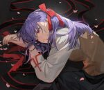 1girl absurdres bangs black_skirt breasts brown_vest chyoel collared_shirt fate/stay_night fate_(series) hair_ribbon highres homurahara_academy_uniform large_breasts long_hair long_sleeves matou_sakura purple_hair red_ribbon ribbon shirt skirt vest violet_eyes white_shirt
