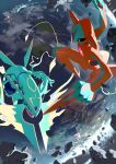 artist_name black_eyes blurry claws clenched_hand deoxys deoxys_(normal) dragon e_volution earth_(planet) eastern_dragon gen_3_pokemon legendary_pokemon mega_pokemon mega_rayquaza mythical_pokemon planet pokemon pokemon_(creature) rayquaza rock space