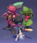 1boy 1girl 1other adjusting_clothes adjusting_headwear axe blue_skin blush_stickers boots bracelet colored_sclera colored_skin dated deltarune fingernails glasses goat_boy gradient gradient_background green_headwear grin hair_over_eyes hat jewelry kris_(deltarune) long_hair pink_hair pink_scarf pointing purple_background ralsei scarf sharp_fingernails sharp_teeth skyloop19 smile spiked_armlet spiked_bracelet spikes standing susie_(deltarune) teeth twitter_username yellow_sclera