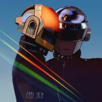 2boys collared_jacket daft_punk dated gradient gradient_background guy-manuel_de_homem-christo helmet light_rays looking_at_viewer looking_to_the_side multiple_boys roxiee-chan thomas_bangalter upper_body zipper
