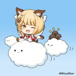 1girl :3 ;d animal animal_ears bangs bare_shoulders blonde_hair blue_background brown_eyes chibi closed_mouth clouds commentary_request detached_sleeves dog dog_ears eyebrows_visible_through_hair fang gradient gradient_background granblue_fantasy hands_up long_sleeves looking_at_viewer miicha notice_lines one_eye_closed open_mouth shirt sleeveless sleeveless_shirt smile solid_circle_eyes solo twitter_username vajra_(granblue_fantasy) white_shirt white_sleeves wide_sleeves