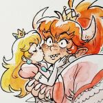 alternate_costume alternate_hairstyle blonde_hair bowsette carrying cheek_kiss claws closed_eyes crown earrings hand_on_back hand_on_own_face horns jewelry kiss mario_(series) overbite ponytail princess_carry princess_peach redhead schpog sharp_teeth simple_background super_crown super_mario_bros. super_mario_odyssey teeth white_background wide-eyed