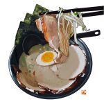 bean_sprout bowl chopsticks egg food food_focus garnish halfboiled_egg meat no_humans noodles original seaweed simple_background soup soup_ladle spring_onion still_life studiolg vegetable white_background