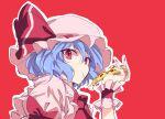 1girl blue_hair eating food hat hat_ribbon ichimura_kanata looking_at_viewer mob_cap pizza pizza_slice red_background red_eyes remilia_scarlet ribbon short_hair solo tagme touhou