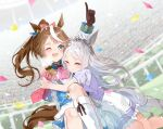 2girls ;d animal_ears arm_up ascot bangs blue_eyes blush bow brown_gloves brown_hair commentary_request confetti crying epaulettes frilled_skirt frills gloves hair_bow highres horse_ears horse_girl horse_tail hug index_finger_raised jacket kneehighs knees_up long_hair long_sleeves mejiro_mcqueen_(umamusume) multicolored_hair multiple_girls one_eye_closed open_mouth pleated_skirt ponytail purple_shirt red_bow red_neckwear shirt sho_(runatic_moon) short_sleeves sitting skirt smile streaked_hair sweat tail tokai_teio_(umamusume) umamusume white_hair white_jacket white_legwear white_skirt