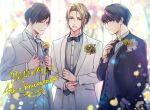 3boys adjusting_sleeves anniversary bangs black_neckwear black_suit blue_eyes blurry blurry_background bow bowtie dated flower formal grey_neckwear grey_vest hair_between_eyes hand_in_pocket hands_up highres kirihara_subako long_sleeves looking_at_viewer male_focus multiple_boys necktie pocket_square short_hair simple_background smile standing suit toraware_no_palm twitter_username vest white_suit
