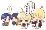 1girl 3boys ahoge artoria_pendragon_(all) black_hair blonde_hair blue_eyes blue_hair chibi fate/stay_night fate_(series) gift gilgamesh_(fate) glasses green_eyes hair_bun highres homurahara_academy_uniform matou_shinji multiple_boys ryuudou_issei saber short_hair translation_request tsubuta_hiro wavy_hair