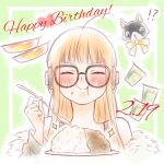!? 1girl ahoge arm_up bangs bare_shoulders birthday black_cat black_tank_top black_vest blunt_bangs blush cat closed_eyes coat curry dated eating eyebrows_visible_through_hair food food_on_face fur-trimmed_coat fur_trim glasses green_background green_coat hand_up happy happy_birthday headphones heart hime_cut holding holding_spoon long_hair love-vitamin00 orange_hair persona persona_5 plate rice rice_on_face sakura_futaba simple_background smile solo_focus spoon surprised tank_top vest