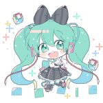 1girl 39_music_(vocaloid) aqua_eyes aqua_hair black_bow black_footwear black_skirt blush_stickers boots bow cable chibi cs_voca cube frilled_skirt frills full_body gloves hair_bow hatsune_miku headphones heart heart_hands hoop_skirt long_hair looking_at_viewer lowres magical_mirai_(vocaloid) makuhari-chan open_mouth shirt skirt sleeveless sleeveless_shirt smile solo twintails very_long_hair vocaloid white_background white_gloves white_legwear white_shirt