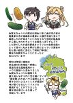 3girls :> abukuma_(kancolle) ahoge bangs black_gloves blonde_hair book brown_eyes brown_hair closed_eyes closed_mouth cucumber double_bun food glasses gloves highres i-8_(kancolle) japanese_clothes kaga_(kancolle) kantai_collection long_hair multiple_girls muneate name_tag one-piece_swimsuit opaque_glasses open_mouth ponytail remodel_(kantai_collection) sailor_collar school_swimsuit school_uniform seiran_(mousouchiku) serafuku side_ponytail simple_background smile swimsuit tasuki translation_request twintails vegetable white_background