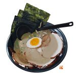 bean_sprout bowl egg food food_focus garnish halfboiled_egg meat no_humans original seaweed simple_background soup soup_ladle spring_onion still_life studiolg vegetable white_background