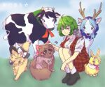 1girl akira_(cookie) alice_margatroid anchor_print animal_on_shoulder animalization apron bangs black_eyes black_footwear black_hair black_headwear blonde_hair blue_eyes blue_hair bow braid brown_hair capelet clothes_writing collared_shirt commentary_request cookie_(touhou) cow deer flour_(cookie) food_themed_hair_ornament fox frilled_bow frilled_skirt frills grey_hair hair_between_eyes hair_bow hair_ornament hairband hakurei_reimu hat hat_bow highres hood ichigo_(cookie) kazami_yuuka kirisame_marisa kumoi_ichirin milk_(cookie) mouse murasa_minamitsu nazrin neckerchief nyon_(cookie) odenoden petting pink_apron pink_hairband pink_neckwear plaid plaid_skirt plaid_vest rabbit red_bow red_eyes red_skirt red_vest rurima_(cookie) sailor_hat second-party_source shirt shoes short_hair side_braid single_braid skirt skirt_set socks squatting star_(symbol) strawberry_hair_ornament suzu_(cookie) tanuki touhou translation_request vest white_bow white_capelet white_legwear white_shirt witch_hat