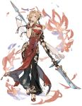 1girl blonde_hair blue_eyes breasts bun_cover china_dress chinese_clothes clothing_cutout double_bun dress granblue_fantasy hair_intakes hair_ornament hairband highres long_hair looking_at_viewer pelvic_curtain polearm red_dress shimatani_azu side_slit simple_background solo spear twintails weapon white_hair zeta_(granblue_fantasy)