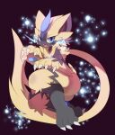 1boy animal_ears artist_name black_fur blue_eyes blush body_fur cat_boy cat_ears cat_tail claws commentary dated electricity fangs full_body furry gen_7_pokemon hands_up highres invisible_chair jpeg_artifacts legendary_pokemon light_blush looking_at_viewer male_focus mythical_pokemon nyaswitchnya open_mouth pawpads paws pokemon pokemon_(creature) signature sitting solo symbol_commentary tail teeth two-tone_fur whiskers yellow_fur zeraora