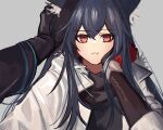 1girl 1other animal_ear_fluff animal_ears arknights bangs black_gloves black_hair black_shirt blush breasts brown_eyes closed_mouth commentary_request doctor_(arknights) eyebrows_visible_through_hair fkskii65 fur_trim gloves grey_background hair_between_eyes hand_on_another's_head hand_on_own_cheek hand_on_own_face highres jacket korean_commentary long_hair long_sleeves looking_at_viewer multicolored_hair official_alternate_costume open_clothes open_jacket out_of_frame pout pov redhead shirt simple_background small_breasts solo solo_focus texas_(arknights) texas_(winter_messenger)_(arknights) two-tone_hair upper_body white_jacket wolf_ears wolf_girl