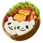 carrot cherry egg english_commentary food food_focus fruit garnish gokushufudou lettuce meat meatball no_humans obentou omelet realistic rice sausage simple_background still_life studiolg tamagoyaki vegetable white_background