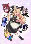 6+girls alice_margatroid animal_ear_fluff animal_ears apron bangs black_eyes black_skirt black_vest blonde_hair blouse blue_dress blue_footwear blue_hair blush boots bow box brown_footwear brown_hair bunny_tail capelet chibi closed_eyes closed_mouth colored_skin commentary_request cookie_(touhou) cow_ears cow_horns cow_tail deer_antlers deer_tail detached_sleeves dress english_text eyebrows_visible_through_hair flour_(cookie) food_themed_hair_ornament fox_ears fox_tail frilled_apron frilled_bow frilled_capelet frilled_dress frilled_hair_tubes frills full_body green_footwear green_skirt green_vest grey_hair hair_bow hair_ornament hair_tubes hairband hakurei_reimu hat heart-shaped_box highres hood horns ichigo_(cookie) kemonomimi_mode kirisame_marisa kumoi_ichirin long_hair long_sleeves looking_at_viewer medium_hair milk_(cookie) mouse_ears mouse_tail multiple_girls murasa_minamitsu nazrin neckerchief nyon_(cookie) odenoden open_mouth outstretched_arms pink_apron pink_hairband pink_neckwear pink_sash puffy_short_sleeves puffy_sleeves rabbit_ears raccoon_ears raccoon_tail red_bow red_eyes rurima_(cookie) sailor_hat sash second-party_source shirt shoes short_hair short_sleeves shorts skirt smile star_(symbol) strawberry_hair_ornament suzu_(cookie) tail touhou vest waist_apron white_apron white_blouse white_capelet white_shirt white_shorts white_skin white_sleeves |d