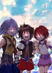 1girl 2boys brown_hair closed_eyes clouds fingerless_gloves gloves jewelry kairi_(kingdom_hearts) keiseki1 kingdom_hearts multiple_boys necklace open_mouth redhead riku short_hair silver_hair smile sora_(kingdom_hearts) spiky_hair
