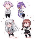 4girls akebono_(kancolle) amatsukaze_(kancolle) bangs bell black_gloves black_legwear braid brown_hair chibi flower gloves hair_bell hair_flower hair_ornament hair_tubes hands_in_pockets highres holding hood hood_down hoodie jacket kantai_collection long_hair long_sleeves multiple_girls noshiro_(kancolle) obentou open_mouth pantyhose petals pink_hair pleated_skirt poipoi_purin ponytail purple_hair remodel_(kantai_collection) sailor_collar school_uniform serafuku shiranui_(kancolle) side_ponytail silver_hair simple_background sitting skirt smile standing thigh-highs traditional_media twin_braids two_side_up