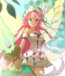 1girl bangs bare_shoulders blue_eyes breasts dated dragalia_lost dress eyebrows_visible_through_hair fairy flower hair_between_eyes hair_flower hair_ornament holding holding_sword holding_weapon long_hair looking_at_viewer notte_(dragalia_lost) pink_hair pleated_dress silken_tofu smile solo strapless strapless_dress sword very_long_hair weapon white_dress wings yellow_wings