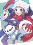 1girl :d black_hair blue_eyes blush brown_bag commentary_request eyelashes female_protagonist_(pokemon_legends:_arceus) floating_scarf gen_5_pokemon hands_up head_scarf highres holding holding_poke_ball open_mouth orange_(orangelv20) oshawott pants poke_ball poke_ball_(legends) pokemon pokemon_(creature) pokemon_(game) pokemon_legends:_arceus ponytail red_scarf sash scarf sidelocks smile starter_pokemon tongue undershirt white_headwear