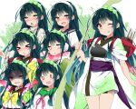 >_< 1girl ahegao arrow_(projectile) blush bow_(weapon) closed_eyes collar collared_shirt commentary furrowed_eyebrows green_collar green_hair hairband half-closed_eye holding holding_bow_(weapon) holding_weapon japanese_clothes kimono looking_at_viewer mtu_(orewamuzituda) muneate obi open_mouth pea_pod quiver sash scarf school_uniform serafuku shaded_face shirt smile solid_oval_eyes standing tongue tongue_out touhoku_zunko voiceroid weapon white_kimono white_shirt yellow_eyes