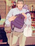 1boy alternate_costume backpack bag blush book bulge creature cutiebell feet_out_of_frame glasses long_sideburns looking_at_viewer male_focus muscular muscular_male on_shoulder photo_background shiro_(tokyo_houkago_summoners) short_hair sideburns smile solo spiky_hair thick_eyebrows tokyo_houkago_summoners