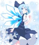 1girl absurdres ahoge arm_behind_back blue_bow blue_dress blue_eyes blue_hair bow cirno commentary_request do_(4-rt) dress eyebrows_visible_through_hair from_behind hair_bow highres ice ice_wings looking_at_viewer looking_back pinafore_dress puffy_short_sleeves puffy_sleeves short_hair short_sleeves simple_background smile snowflakes solo touhou wings