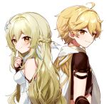 1boy 1girl aether_(genshin_impact) ahoge alternate_hair_length alternate_hairstyle bangs bare_shoulders blonde_hair braid breasts brother_and_sister brown_eyes brown_shirt closed_mouth commentary_request crop_top detached_sleeves dress eyebrows_visible_through_hair from_side genshin_impact hair_between_eyes hand_up long_hair long_sleeves looking_at_viewer looking_to_the_side lumine_(genshin_impact) medium_breasts shirt short_sleeves siblings simple_background smile upper_body very_long_hair white_background white_dress white_sleeves yamabukiiro