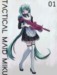 1girl absurdres alternate_costume apron battle_rifle black_dress black_footwear black_legwear blue_eyes boots commentary dress english_commentary enmaided flat_chest full_body gloves green_hair grenade_launcher grin gun hatsune_miku high_heels highres holding holding_gun holding_weapon long_hair maid maid_apron over-kneehighs rifle smile solo suppressor thigh-highs thigh_boots trigger_discipline twintails underbarrel_grenade_launcher vertigris very_long_hair vocaloid weapon white_apron white_footwear white_gloves zettai_ryouiki