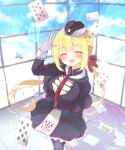 1girl absurdres arihara_nanami arm_behind_back bangs black_capelet black_headwear black_legwear black_shirt black_skirt blonde_hair blue_sky blush breasts capelet card closed_eyes clouds collared_shirt commentary_request day eyebrows_visible_through_hair facing_viewer frilled_skirt frills garrison_cap gattengou gloves hand_up happy hat highres indoors long_hair long_sleeves medium_breasts necktie open_mouth pantyhose playing_card red_neckwear riddle_joker shirt sidelocks skirt sky smile solo standing sunlight tied_hair twintails waving white_gloves window