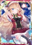 1girl armpits bell blonde_hair blue_eyes boots breasts christmas collaboration falkyrie_no_monshou green_ribbon hat high_heel_boots high_heels holding holding_sack looking_at_viewer medium_breasts night night_sky official_art one_eye_closed ribbon sack santa_costume santa_hat shinkai_no_valkyrie sky star_(symbol) yuraiko
