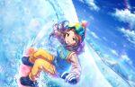blush brown_eyes brown_hair dress idolmaster_cinderella_girls_starlight_stage long_hair sawada_marina smile winter
