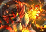 blurry claws colored_sclera commentary_request embers fire gen_7_pokemon green_eyes hand_up incineroar incoming_attack kaosu_(kaosu0905) looking_at_viewer open_mouth pokemon pokemon_(creature) sharp_teeth signature solo teeth tongue yellow_sclera