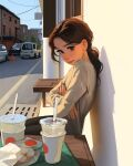 1girl against_wall brown_eyes brown_hair cafe commentary completion_time crossed_arms cup day disposable_cup english_commentary highres lips looking_at_viewer low_ponytail medium_hair nose photo-referenced pout real_life sam_yang_(samdoesarts) sitting solo