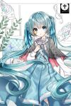1girl absurdres aqua_dress aqua_eyes aqua_hair aqua_ribbon black_capelet blood bloody_weapon capelet cowboy_shot cross crying crying_with_eyes_open dagger dress fish hair_ribbon hatsune_miku highres holding holding_dagger holding_weapon ille_(xcpa7325) long_hair looking_at_viewer monocle parted_lips partially_colored ribbon solo song_name standing tears torn_clothes treble_clef twintails very_long_hair vocaloid weapon white_sleeves