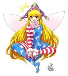1girl :d american_flag_dress american_flag_legwear bangs blonde_hair clownpiece commentary_request dress eyebrows_visible_through_hair fairy_wings full_body hat highres indian_style jester_cap long_hair long_sleeves looking_at_viewer neck_ruff open_mouth partial_commentary polka_dot_headwear purple_headwear red_eyes signature simple_background sitting smile solo star_(symbol) star_print striped striped_dress striped_legwear touhou umigarasu_(kitsune1963) very_long_hair white_background wings