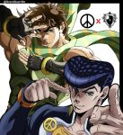 2boys adapted_uniform aqua_eyes artist_name black_gloves blue_eyes blue_hair brown_hair commentary covered_abs earrings english_commentary eyebrows father_and_son fingerless_gloves gakuran gloves grandguerrilla green_scarf hand_up higashikata_josuke highres jewelry jojo_no_kimyou_na_bouken jojo_pose joseph_joestar_(young) long_sleeves looking_at_viewer male_focus multiple_boys muscular muscular_male official_style peace_symbol pectorals pointing pompadour pose red_stone_of_aja scarf school_uniform sleeveless smirk striped striped_scarf stud_earrings symbol_commentary thick_eyebrows time_paradox